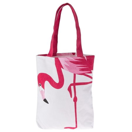 Bright Hot Pink Flamingo on White Cotton Tote Shopping Bag 15 Inches](Flamingo Tote Bag)