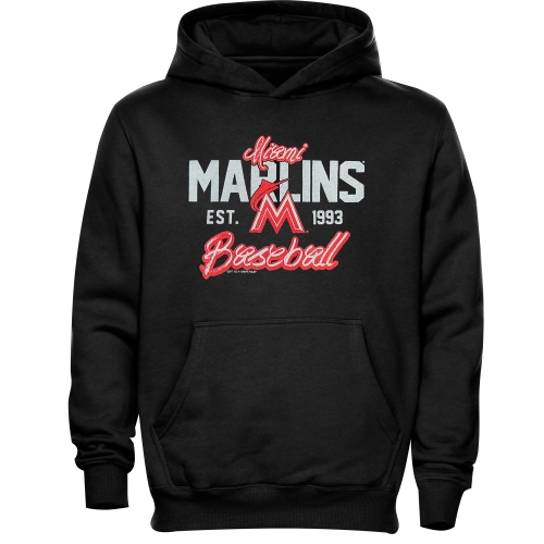 Miami Marlins Youth Script Baseball Pullover Hoodie - Black