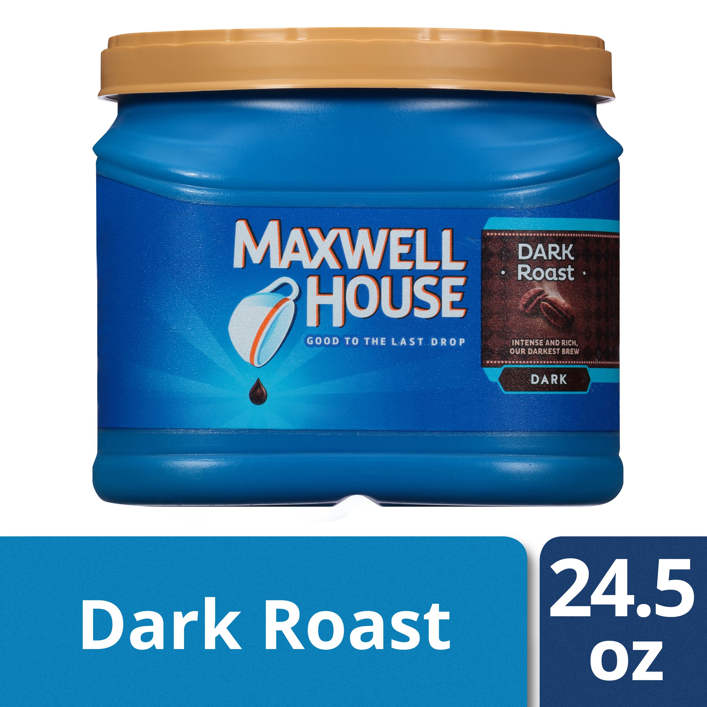 (2 Pack) Maxwell House Caffeinated Dark Roast Ground Coffee, 24.5 oz Canister
