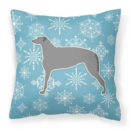 Carolines Treasures BB3496PW1414 Winter Snowflake Scottish Deerhound Fabric Decorative Pillow - image 1 de 1