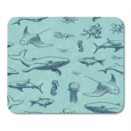 KDAGR Pattern Made of Octopus Jellyfish Fish Seahorse Stingray Shrimp Mousepad Mouse Pad Mouse Mat 9x10 inch (Stingray Mouse Pad)