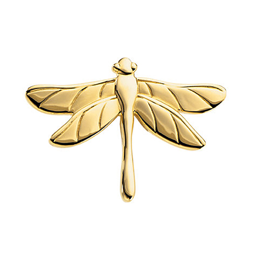 14K Yellow Gold Dragonfly Pin Brooch by