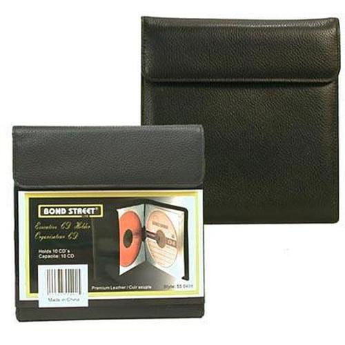 Bond Street 550498BLK Premium Leather Portable CD- DVD Holder