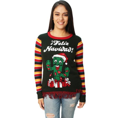 Ugly Christmas Sweater Women's Feliz Navidad Cactus LED Light Up - Ugly Sweater Kits