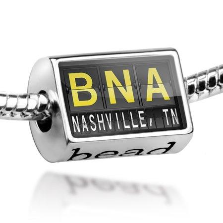 Nashville Airport - Bead BNA Airport Code for Nashville, TN Charm Fits All European Bracelets