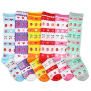 Angelina Girls Cotton Casual Knee High Socks 6 Pack NEW