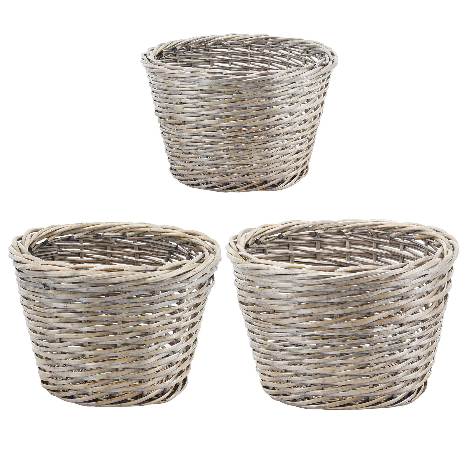 A and B Home Oval Willow Baskets - Set of 3