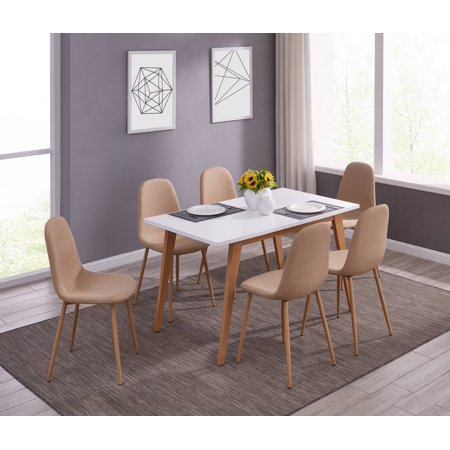 IDS Kitchen Dining Set 7 Piece White Table Natural Solid Wood Legs Design with Fabric Cushioned Armless Lounge Chairs (Stylish Solid Wood)