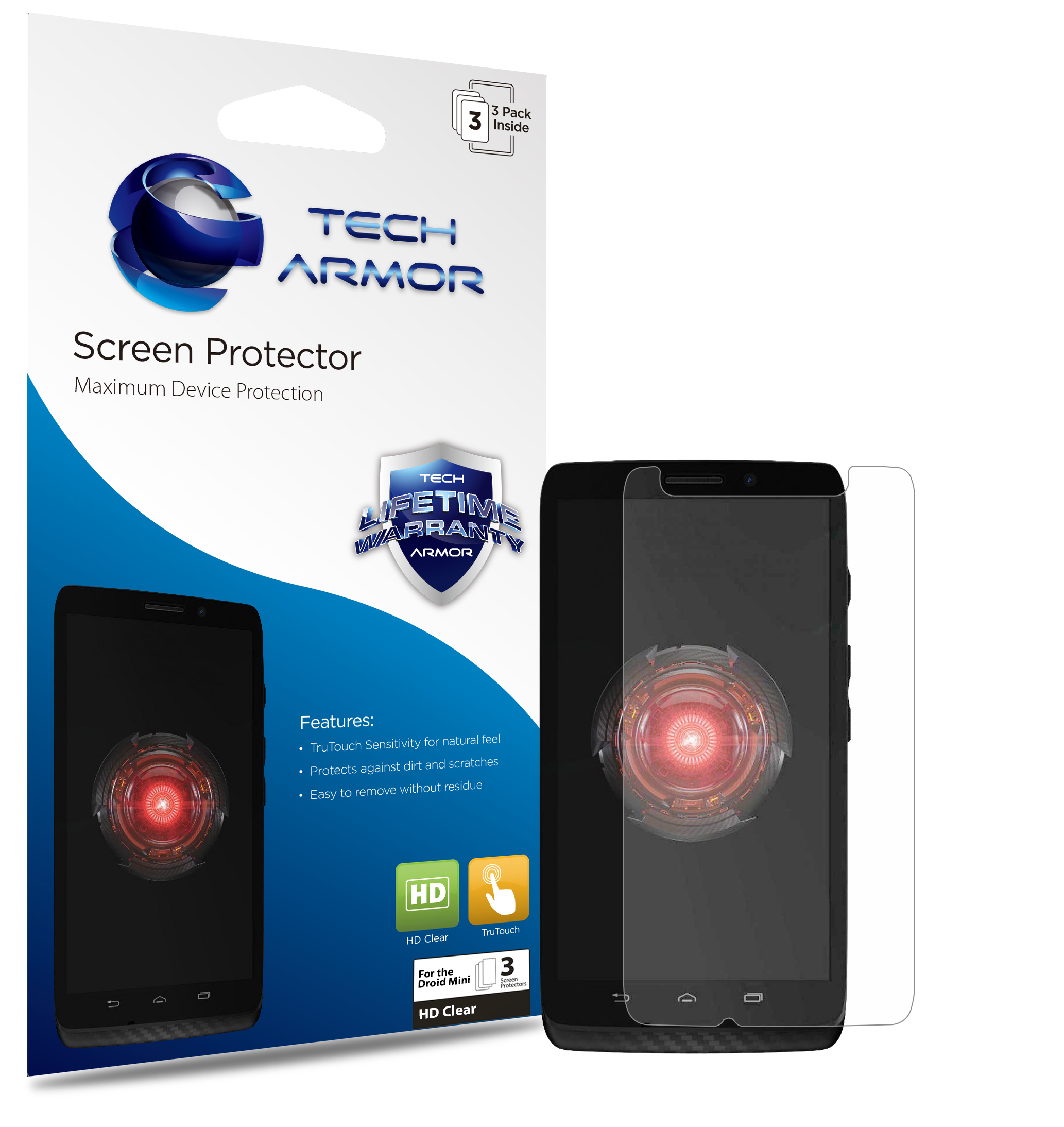 Tech Armor Verizon Motorola Droid MINI Smartphone Premium High Definition (HD) Clear Screen Protector with Lifetime Warranty [3-PACK] - Retail Packaging