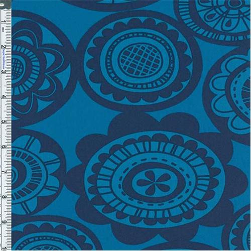 Blue Circular Floral Print Decor Cotton Twill, Fabric By the Yard