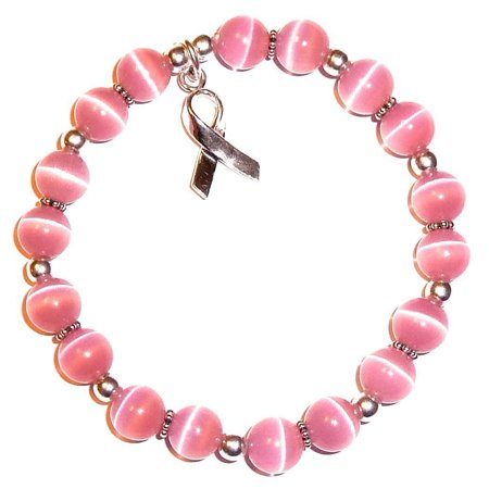 .925 Sterling Silver Breast Cancer Awareness Bracelet by Hidden Hollow Beads - Stretch Bracelet Fits All - 8mm](Breast Cancer Awareness Bracelets)