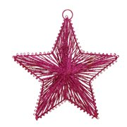 "Lynn Roberts 8"" Fuchsia Glittered 5-Point Star Christmas Ornament - Pink"