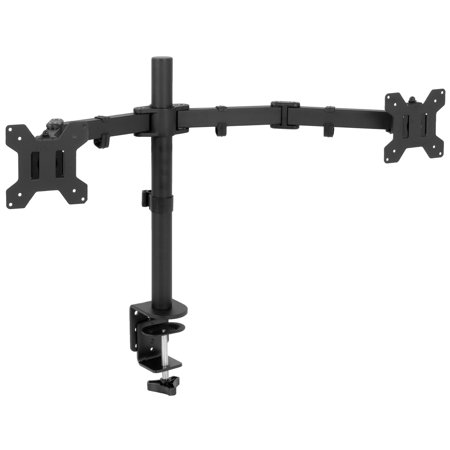 VIVO Full Motion Dual Monitor Desk Mount VESA Stand with Double Center Arm Joint | Fits 13