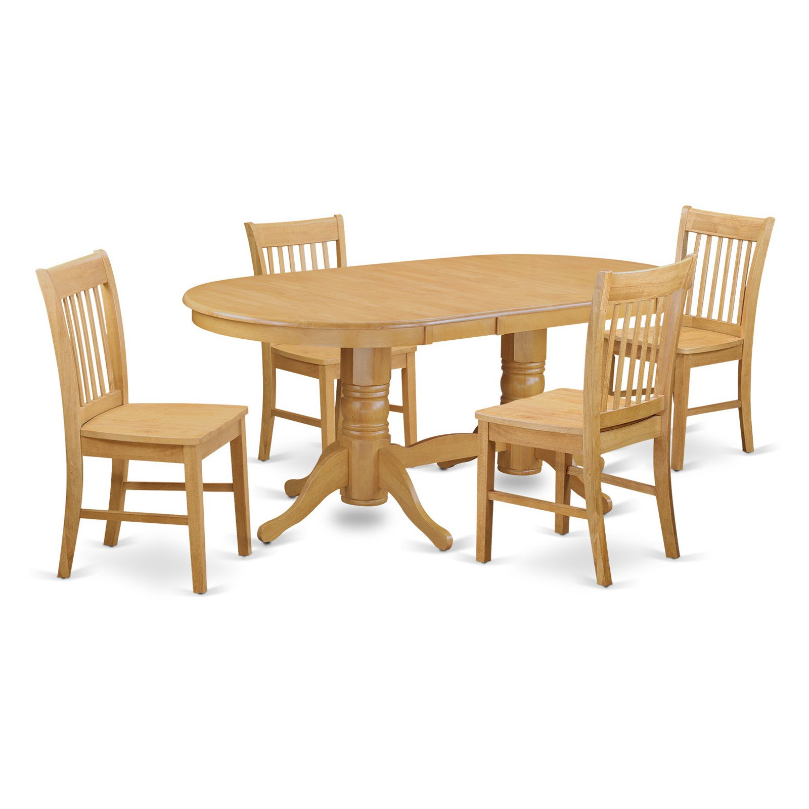 East West Furniture Vancouver 5 Piece Slat Back Dining Table Set