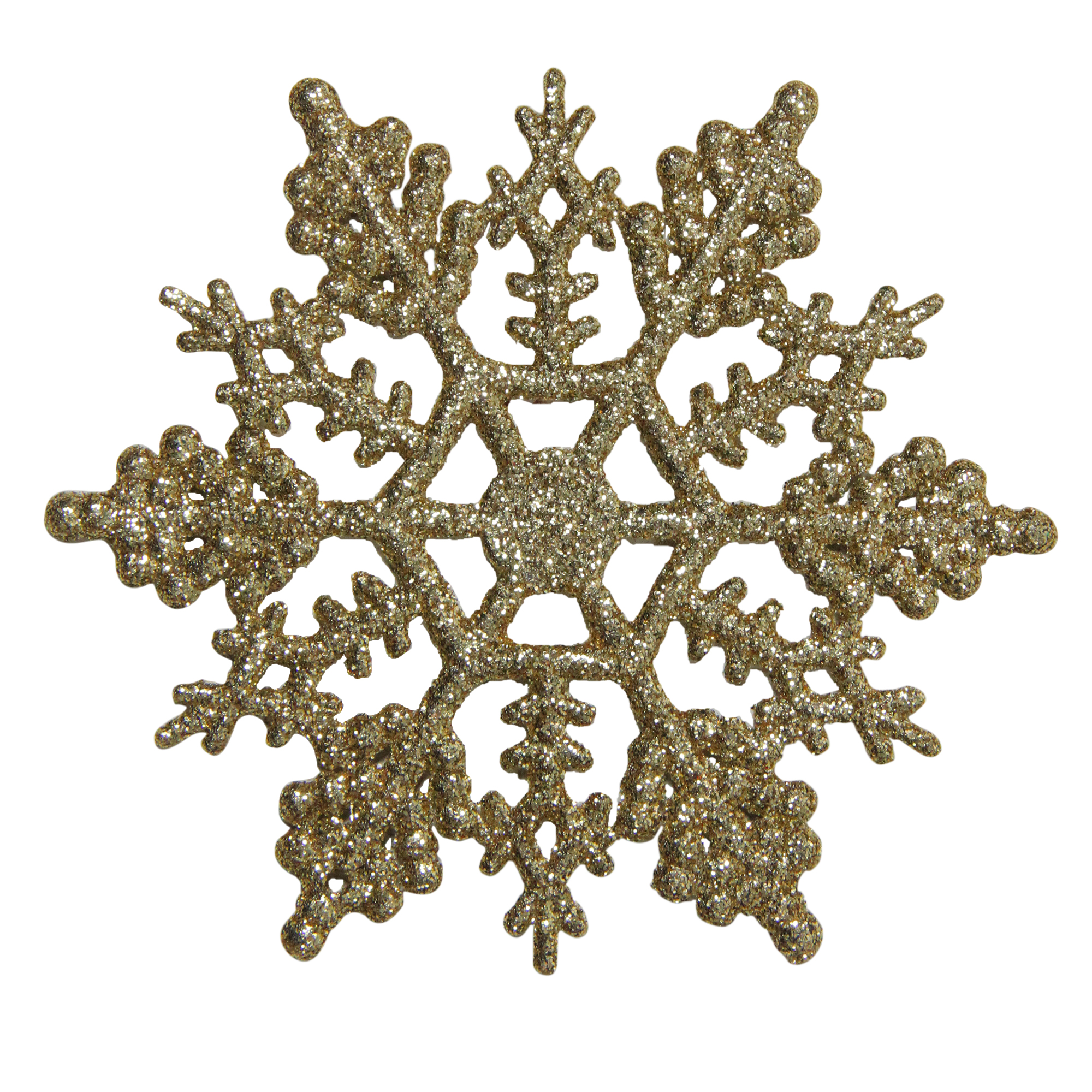"Northlight 24ct Shimmering Glitter Snowflake Christmas Ornament Set 3.75"" - Gold"