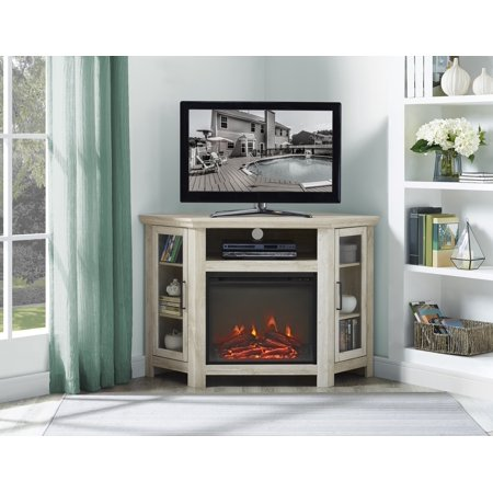 "Corner Fireplace TV Stand Media Console for TVs up to 55"" - White Oak"