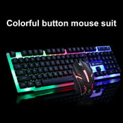 Opolski Colorful Light Wired Keyboard + 1200dpi Gaming Mouse Set Computer Accessories
