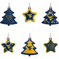 West Virginia Mountaineers Six-Pack Shatterproof Tree And Star Ornament Set - No Size