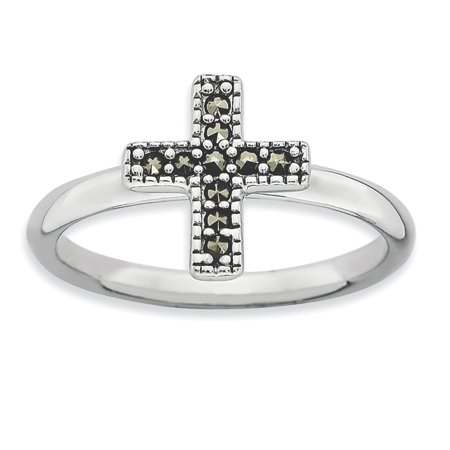 - 925 Sterling Silver Marcasite Cross Religious Band Ring Size 8.00 Stackable Gemstone Fine Jewelry Ideal Gifts For Women Gift Set From Heart