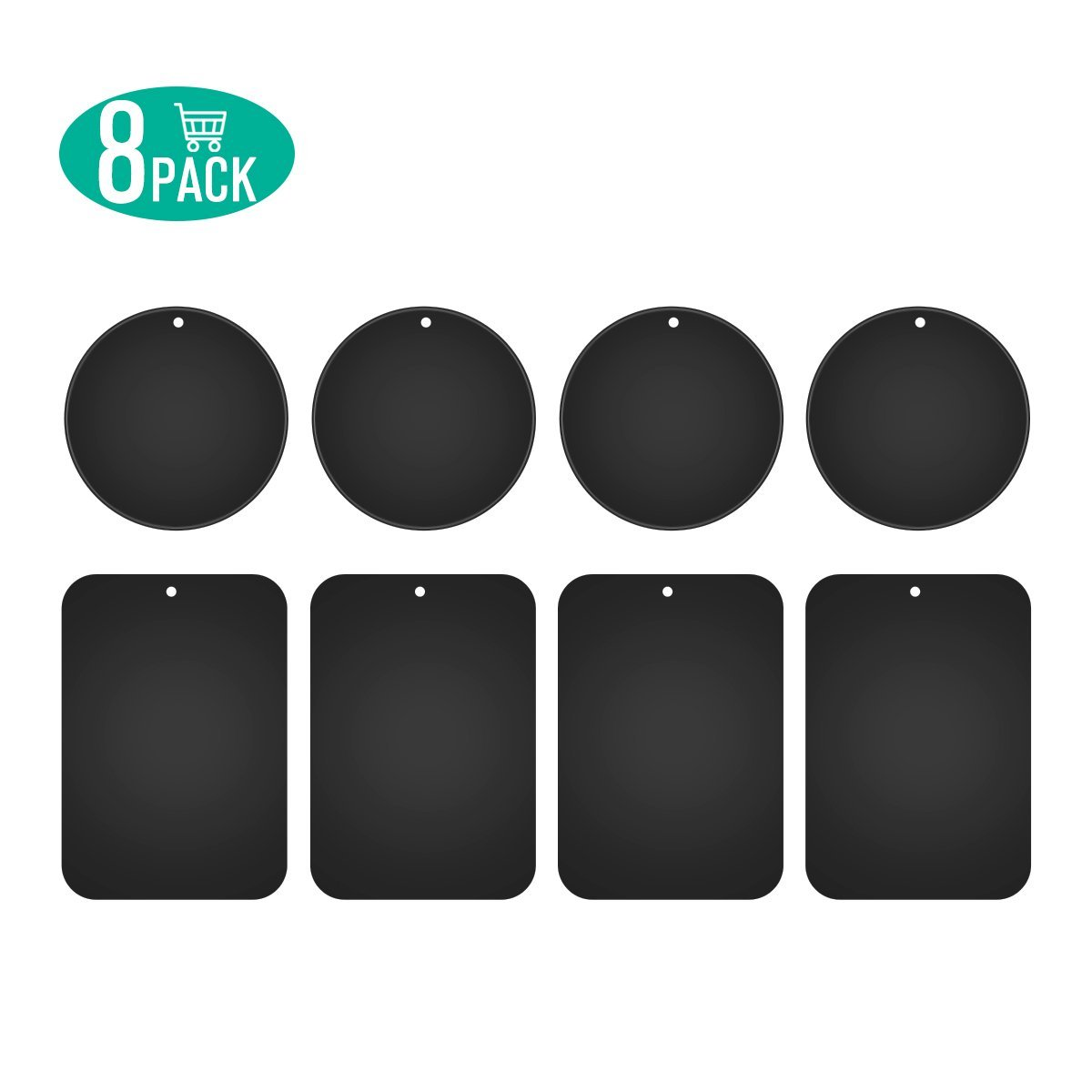 Metal Plates for Magnetic Car Mount,Nekteck Replacement Metal Plates with Strong 3M Adhesive for Magnetic Air Vent Phone Car Mount Holder,GPS Holder, 4 Rectangulars and 4 Rounds, 8 Pack, Black