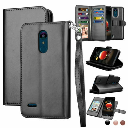 LG Tribute Empire Case, LG Aristo 3 Wallet Case, LG K8 2018 Leather Case, LG LV3 2018 Case, Njjex Pu Leather Magnet Stand Folio Flip Built-in 9 Card Slots With Wrist Strap Wallet Cases Cover