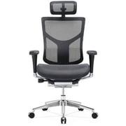 GM Seating Dreem XL Luxury Mesh Series Executive Hi Swivel Chair Chrome Base with Headrest, Black, Seat Slider