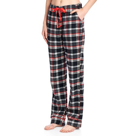 Ashford & Brooks Women's Super Soft Flannel Plaid Pajama Sleep Pants - Black Ivory -