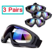 SAYFUT 3 Pairs Ski Goggles, Skate Glasses Over Glasses Winter Snow Outdoor Sports Skiing Snowboard Goggles with Anti-Fog, 100% UV, Helmet Compatibility for Unisex Women Men