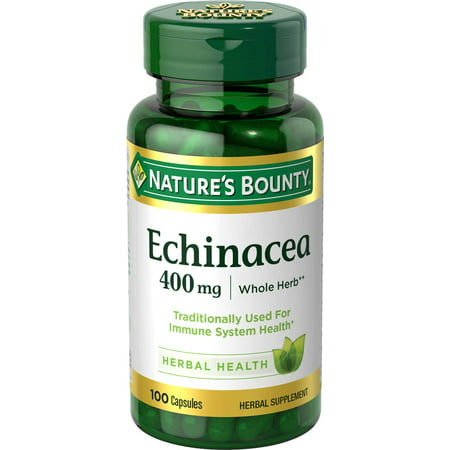 Nature's Bounty Echinacea Traditional Herbal Supplement for Year-Round Immune System Support*, 400mg Capsules, 100 (Immune Support Formula Echinacea)