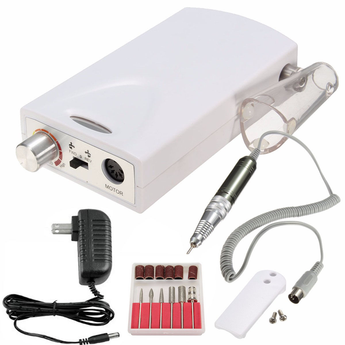 iMeshbean Portable Electric Nail Drill File Rechargeable Cordless Manicure Machine Set White