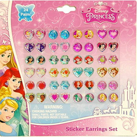 Disney Princess Earrings -24 Pair Sticker On - Disney Car Stickers