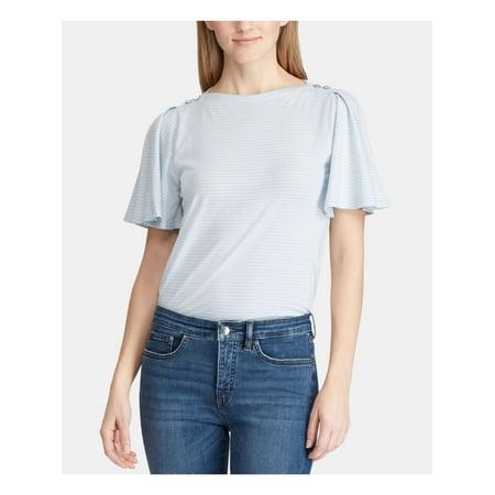 RALPH LAUREN Womens Navy Pinstripe Crew Neck T-Shirt Top Size XL