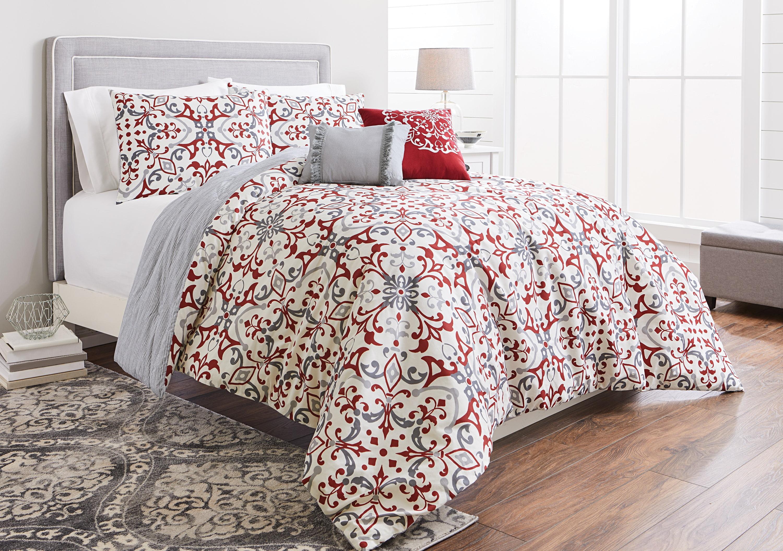 Better Homes Gardens Full Or Queen Scroll Red Comforter Set 5 Piece Walmart Com Walmart Com