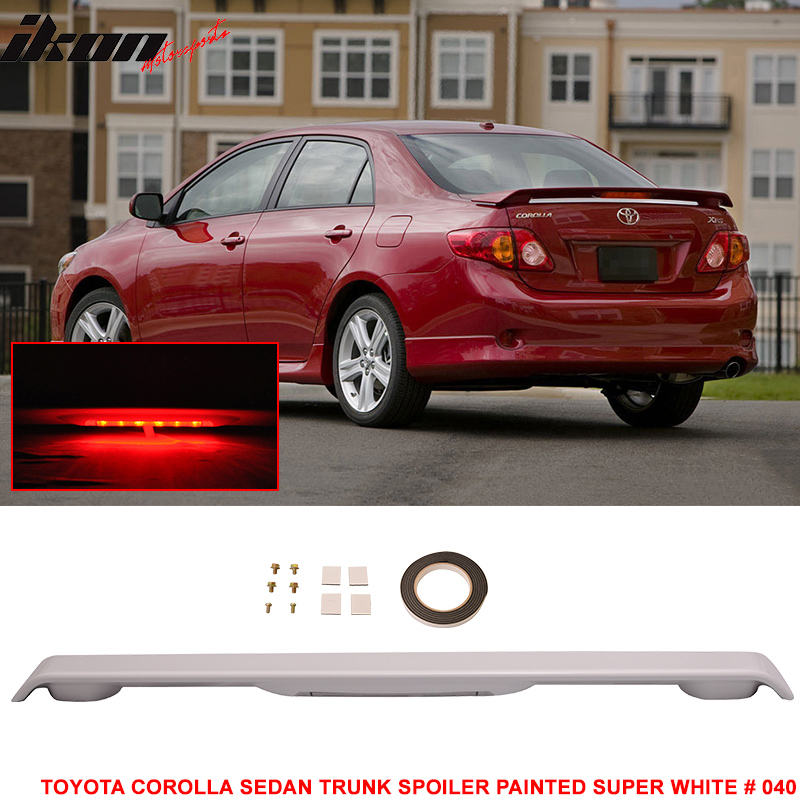 09-13 Toyota Corolla Trunk Spoiler Painted Barcelona Red Pearl # 3R3 LED Light