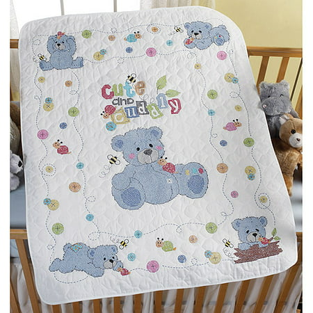 Cute Amp Cuddly Bear Crib Cover Stamped Cross Stitch Kit 34