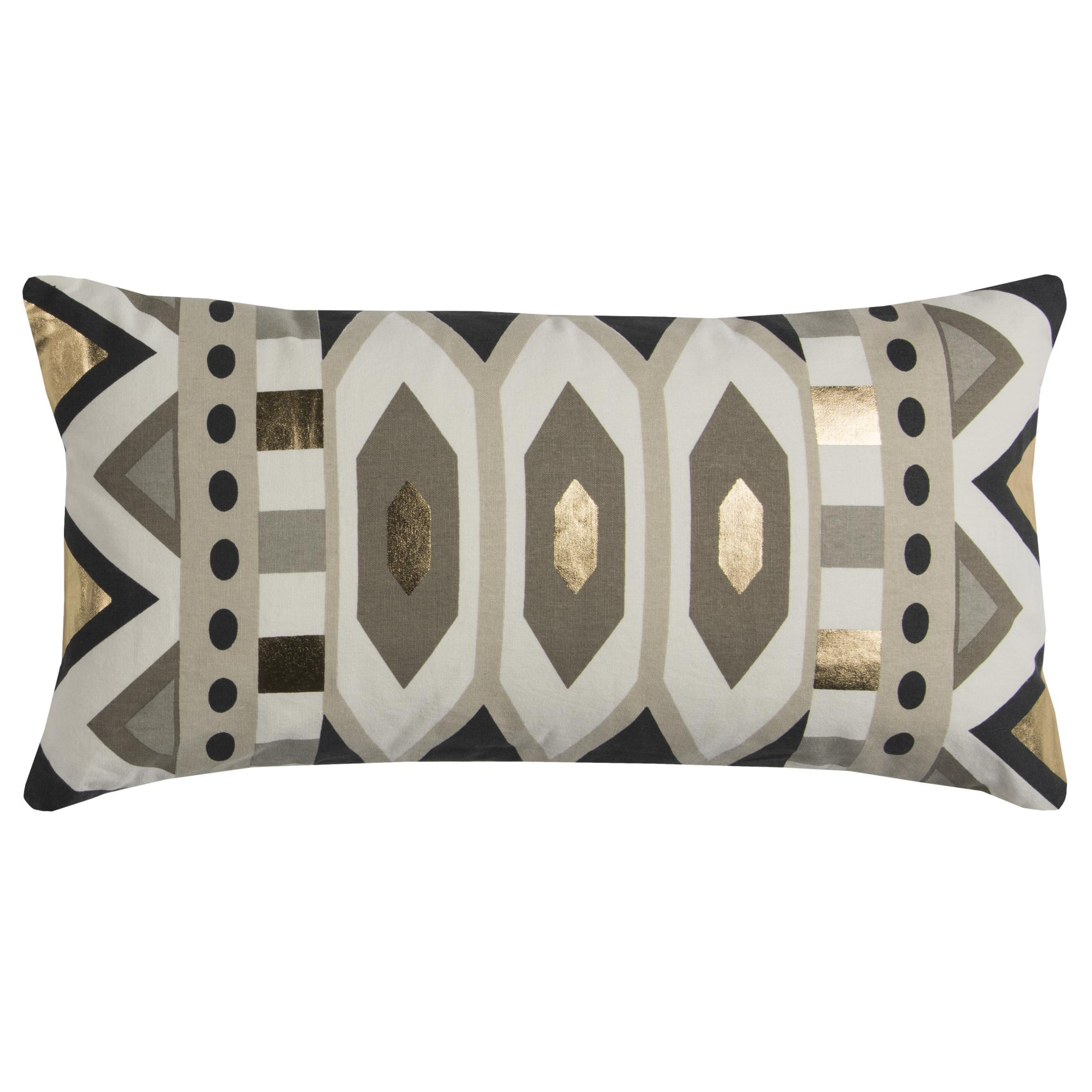 "Rachel Kate By Rizzy Home Decorative Poly Filled Throw Pillow Geometric 11""X21"" Gray"