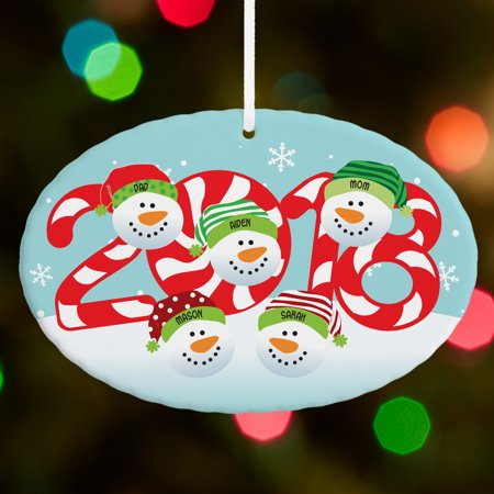 Personalized 2018 Snowman Oval Christmas Ornament](Personalized Football Ornaments)