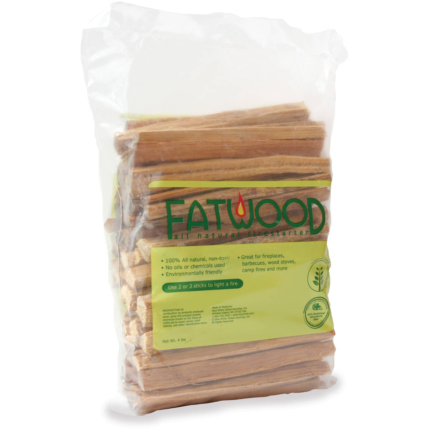Blue Rhino Fatwood in Poly Bag, 4 lbs