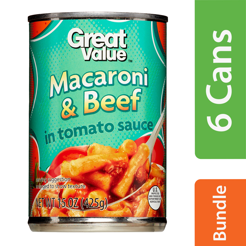 (6 Pack) Great Value Macaroni & Beef, 15 oz
