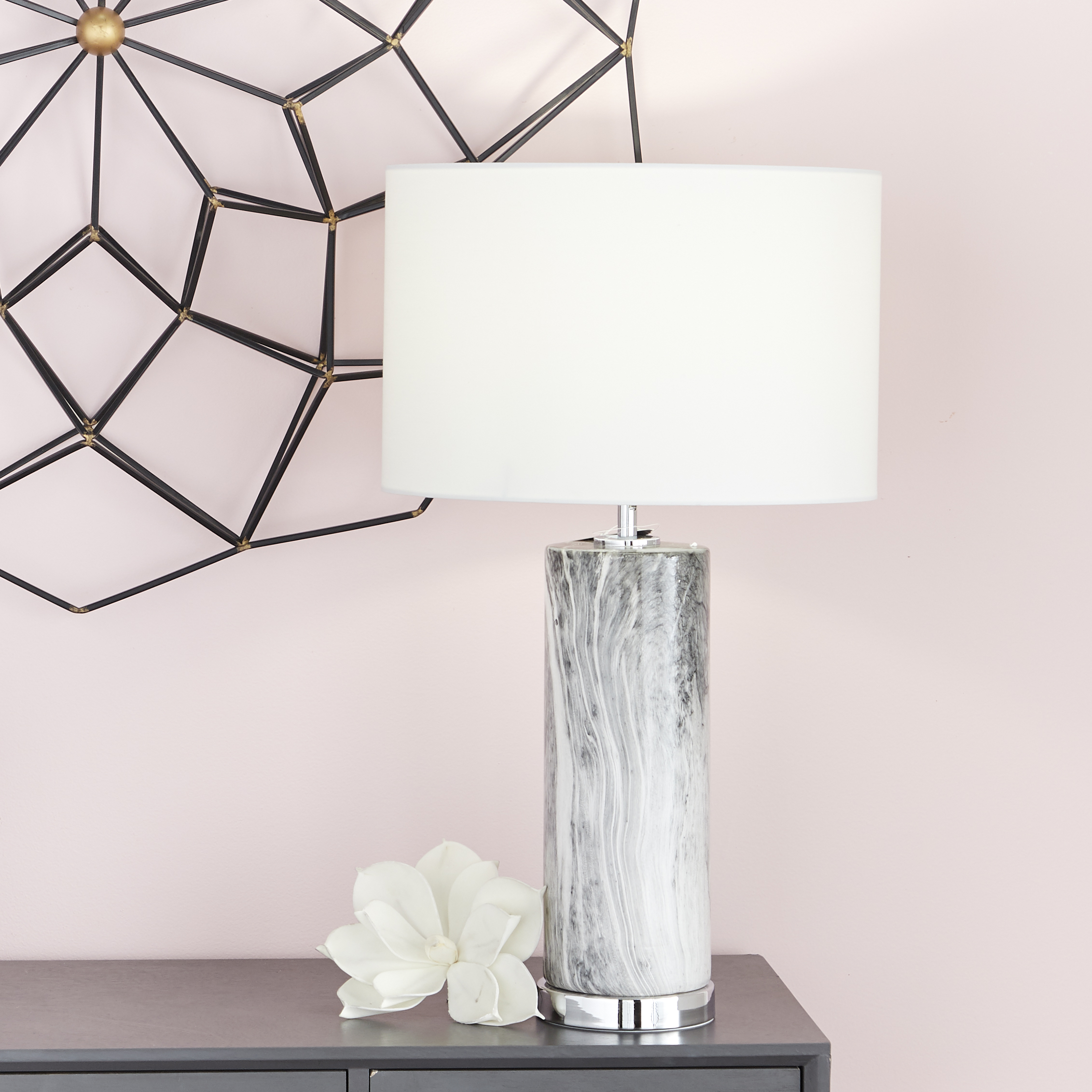 CosmoLiving Large Cylindrical Gray Marble Table Lamp With Metallic Silver  Base U0026 White Drum Shade | 5u201d X 26u201d