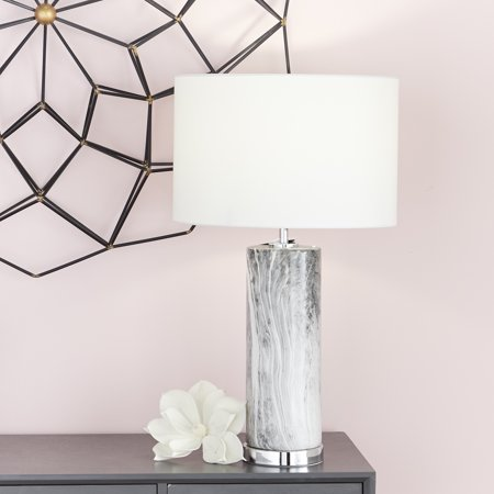 """CosmoLiving Large Cylindrical Gray Marble Table Lamp with Metallic Silver Base & White Drum Shade 