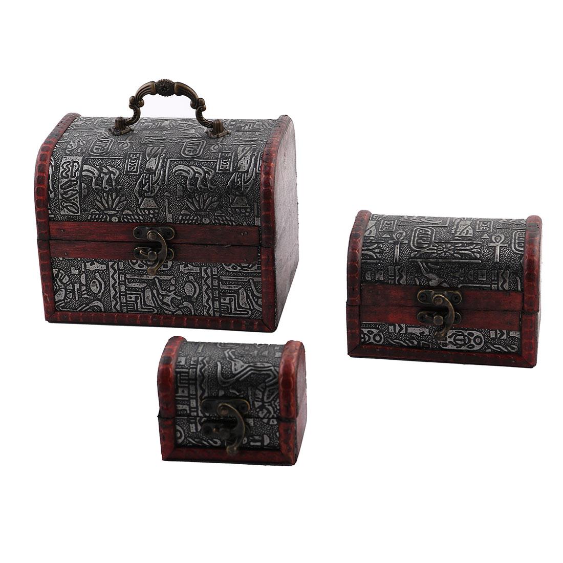 Bedroom Metal Lock Wooden Vintage Style Necklace Jewelry Storage Box 3 in 1