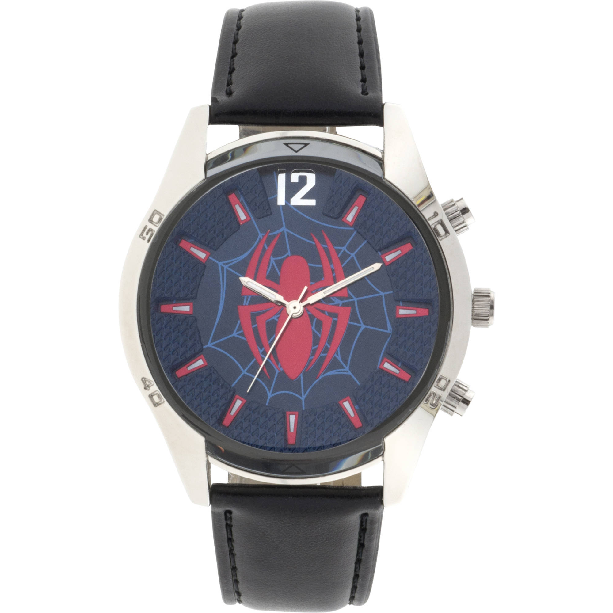 Ultimate Spider-Man Silver Case Character-Printed Dial Analog Watch, Black Strap
