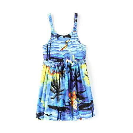 Girl Elastic Strap Hawaiian Luau Dress in Sunset Blue - Sunset Dress