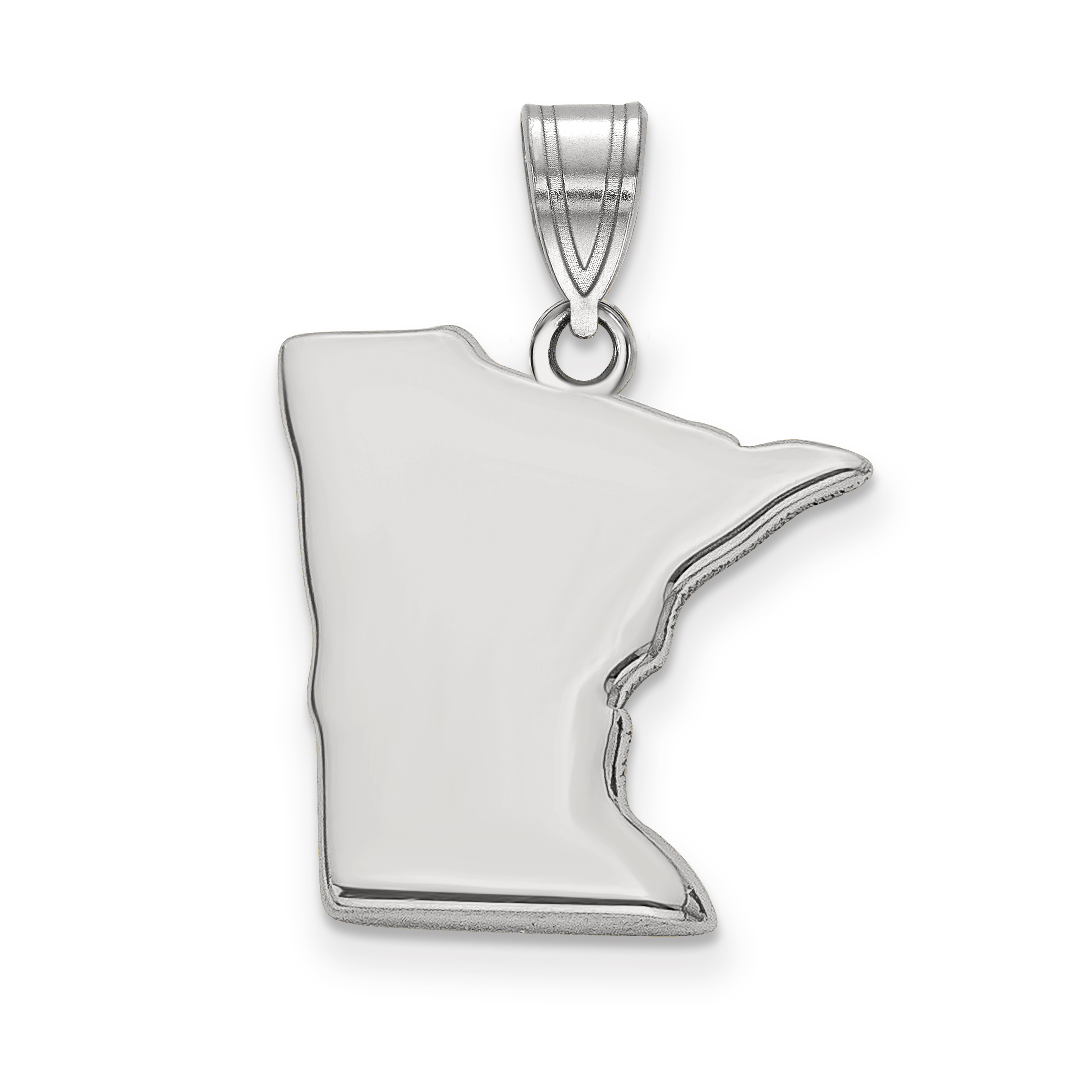 925 Sterling Silver MN State Shaped Pendant Bail Only - image 2 of 2
