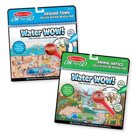 Melissa & Doug Water Wow Reusable Color-with-Water Deluxe Travel Activity Pad 2 Pack – Around Town, Animal Antics - Water Wow Melissa And Doug