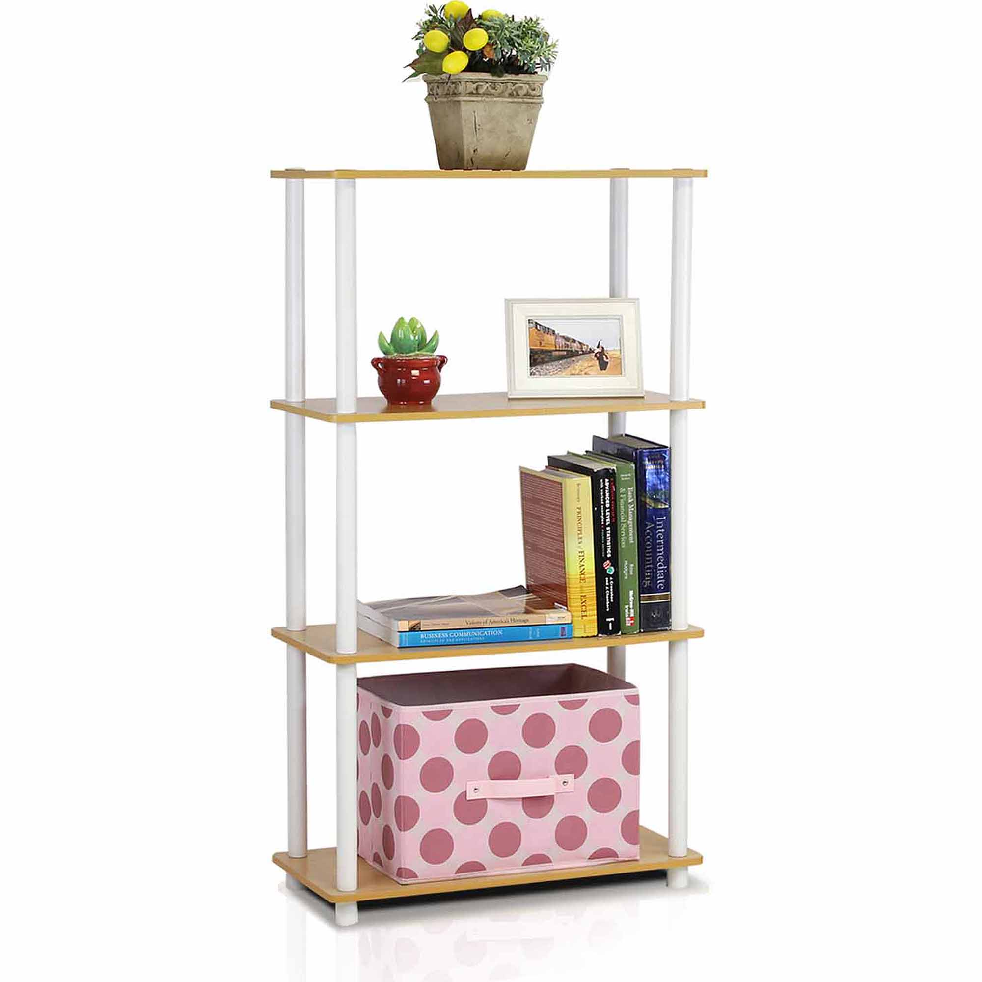 Furinno 99557 Turn-N-Tube 4-Tier No-Tools Multipurpose Shelf Display Rack