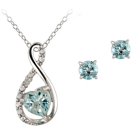 1.2 Carat T.G.W. Blue Topaz and Diamond Accent Sterling Silver Infinity Pendant and Earring Set, 18