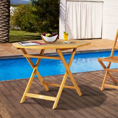Acacia Wood Octagon Folding Outdoor Bistro Table with Umbrella Hole ()