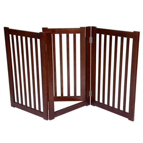 3-panel Free-standing Pet Gate Dark Walnut